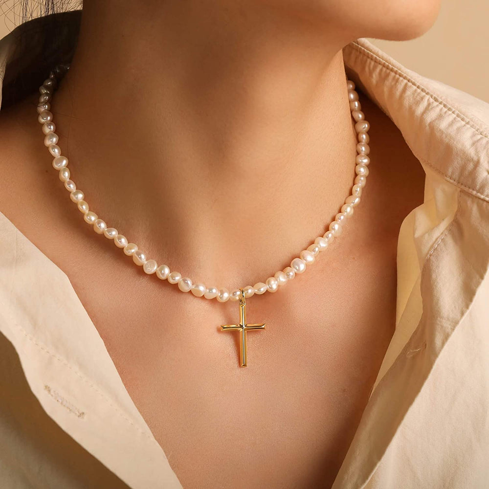 Dainty white pearl cross necklace charm necklace sterling silver