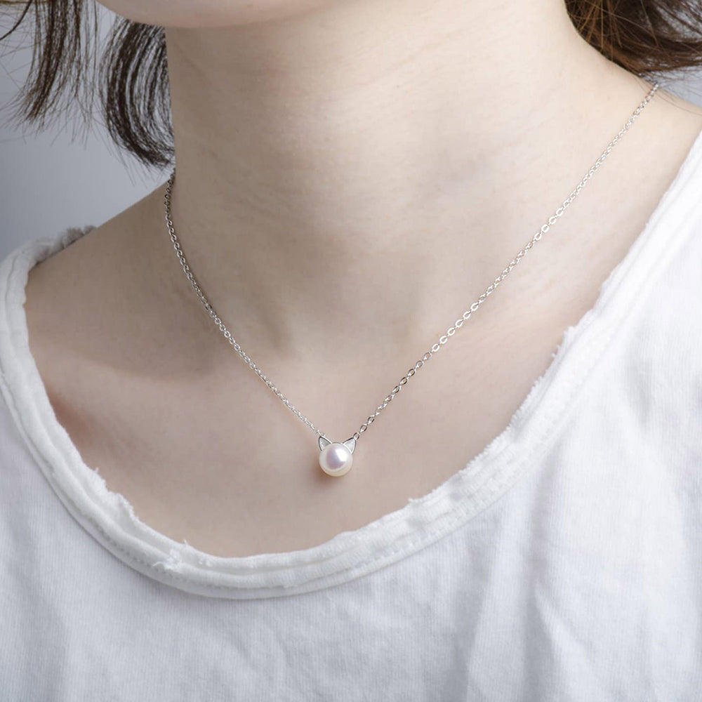 Natural Pearl Cat Pendant Necklace