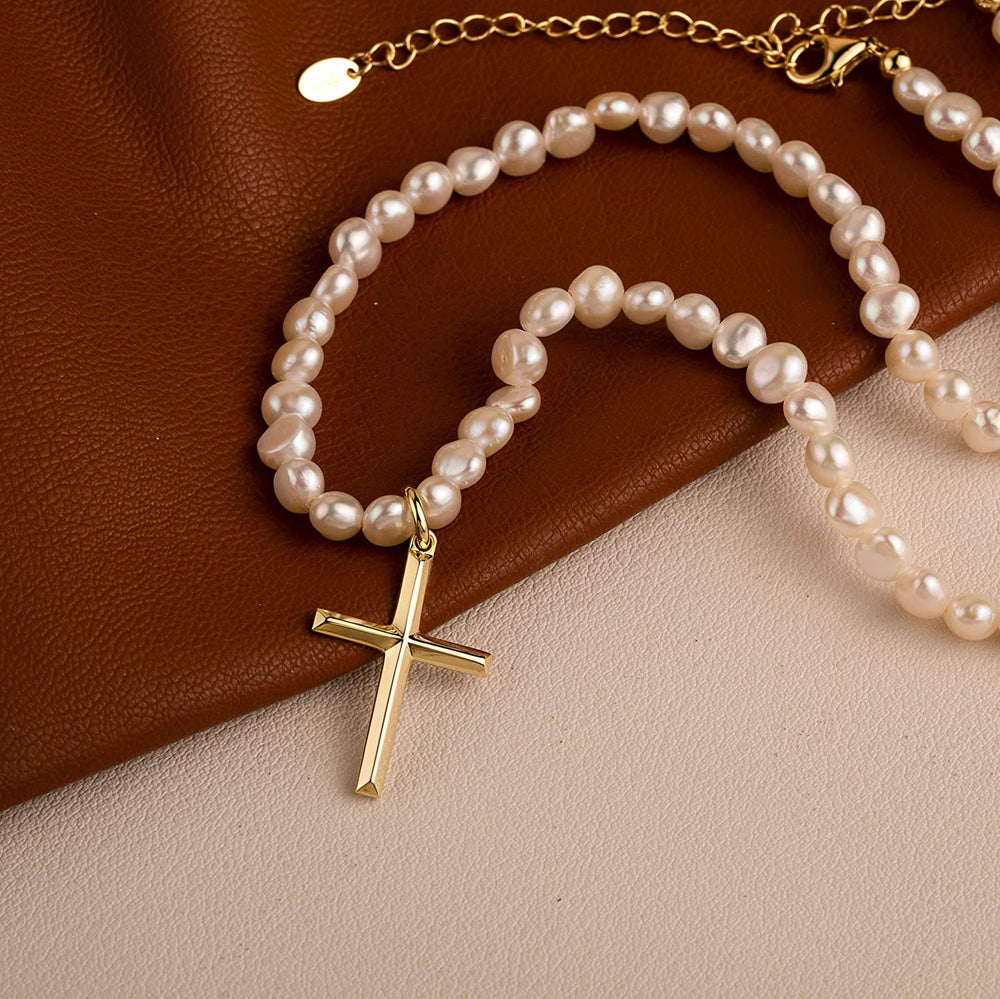 Baroque pearl choker dainty cross pendant necklace jewelry gifts
