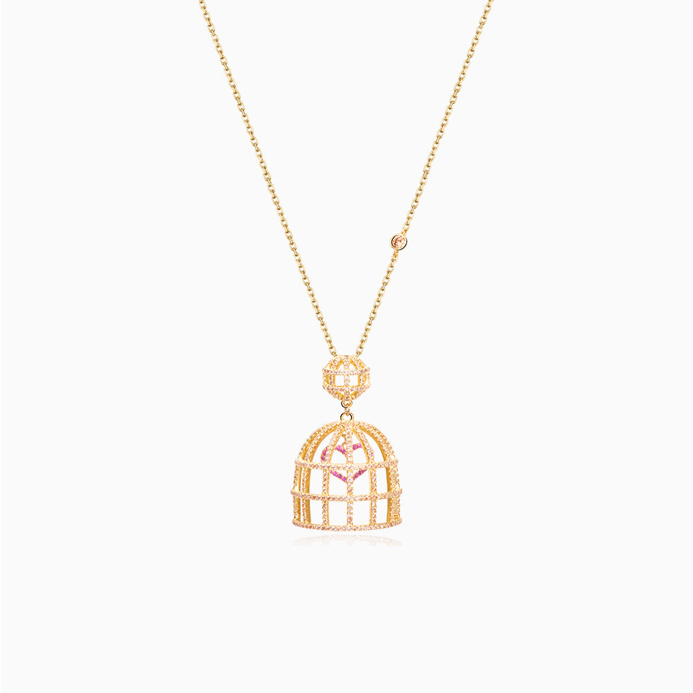 Bird Cage with Cubic Zirconia Necklace sterling silver gold plated