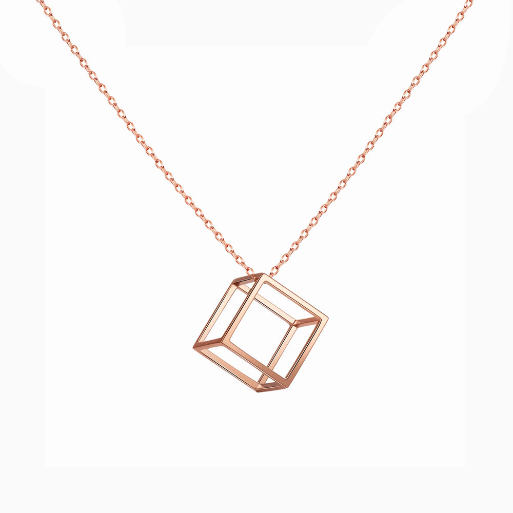 Hollow Cubic sweater Necklace rose gold