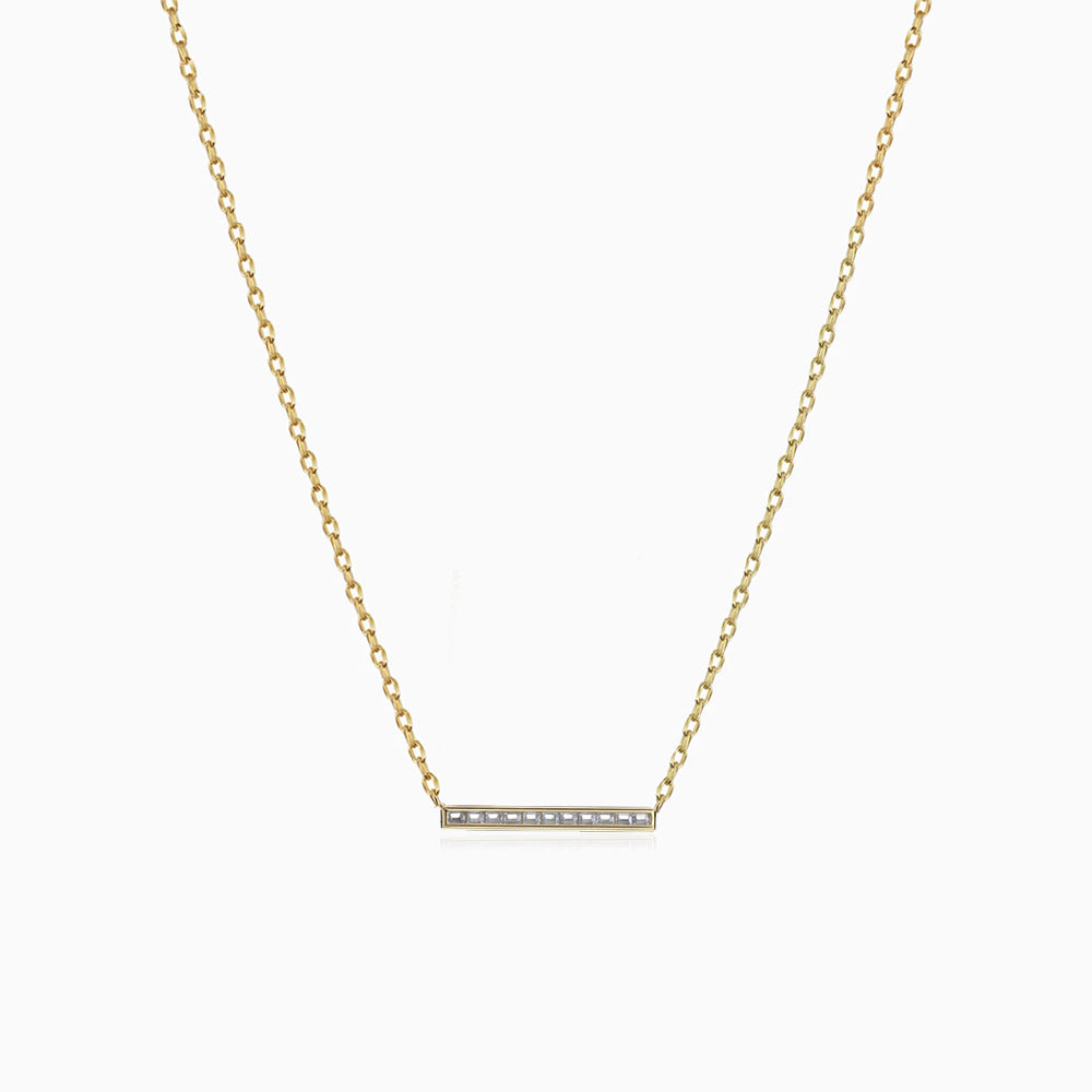 dainty Cubic Zirconia Bar Necklace Yellow Gold