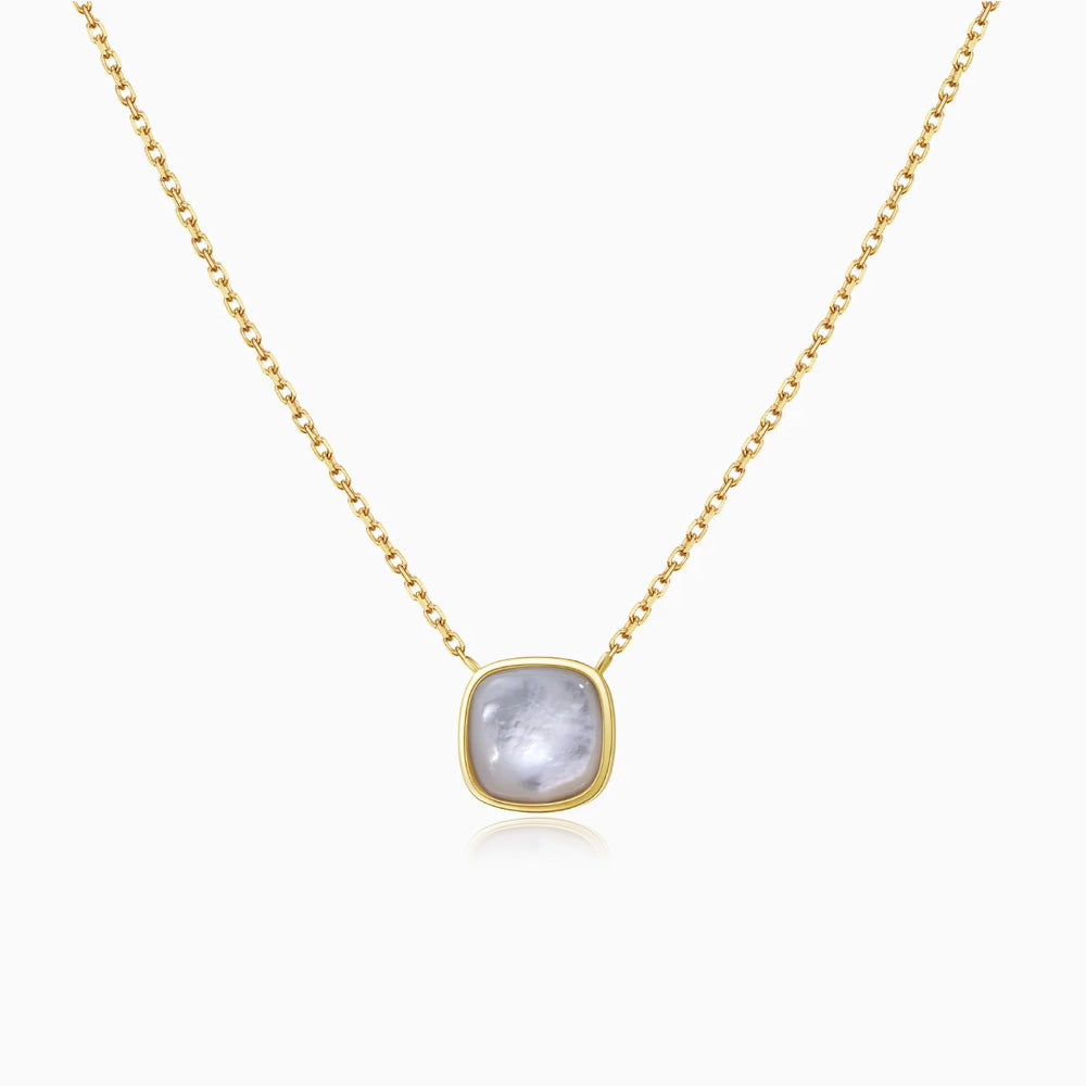 Mother of Pearl Square Pendant Necklace gold
