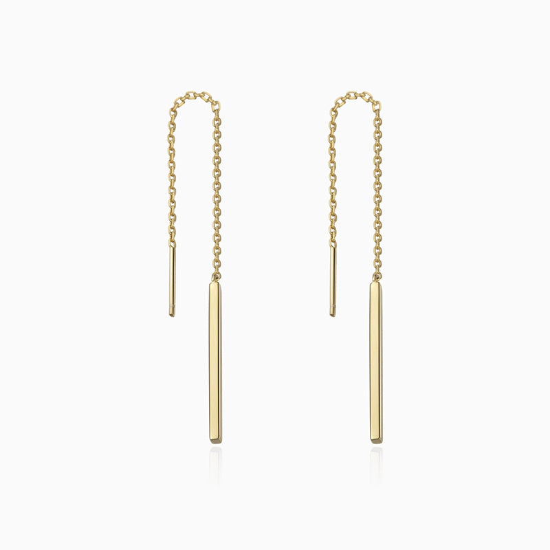 Bar Threader Earrings gold plated