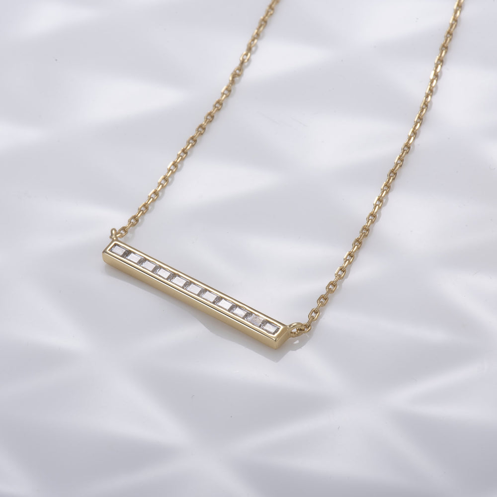 simple CZ Bar pendant Necklace 18k gold plated