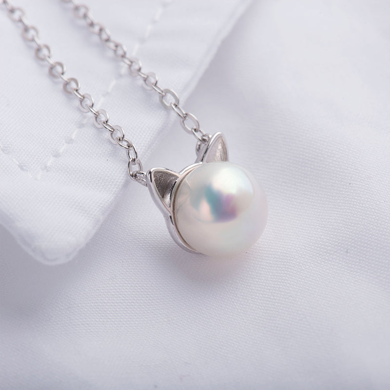 925 Sterling Silver Natural White Pearl Cat Pendant Necklace