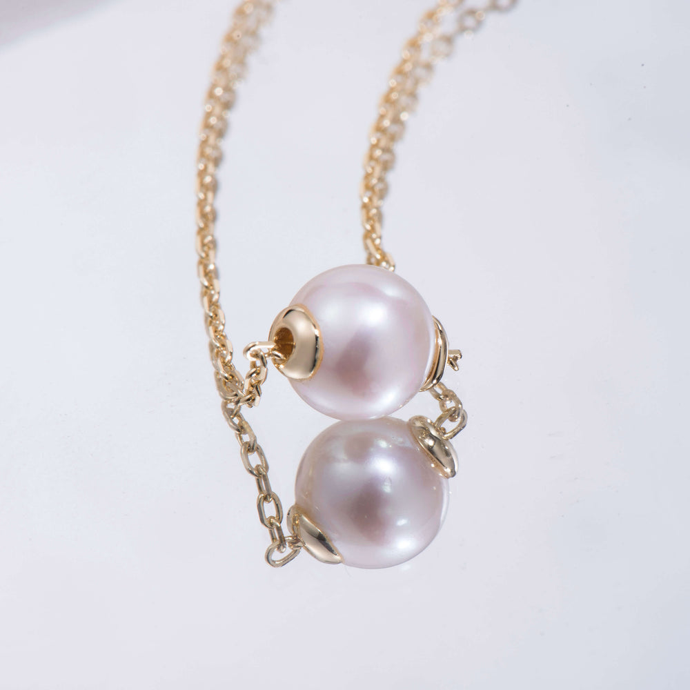 dainty simple Round Pearl Necklace for women