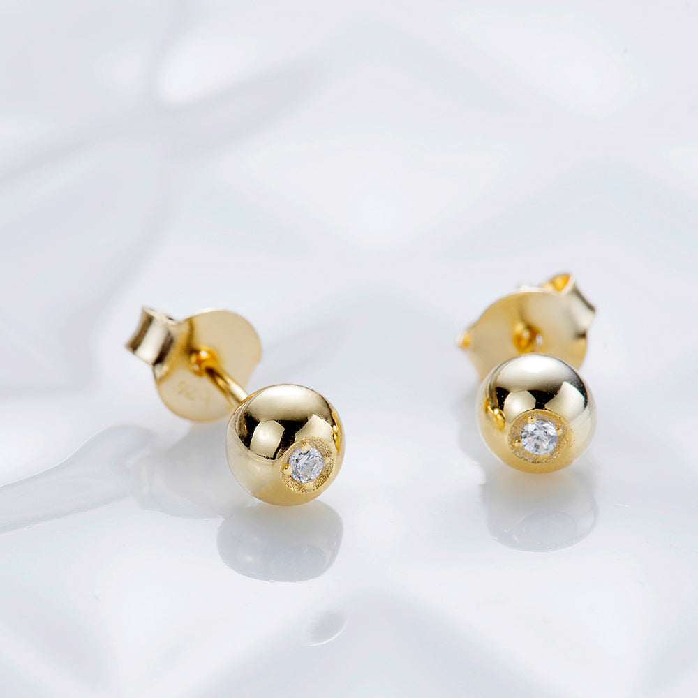 cubic zirconia Ball Stud Earrings for women
