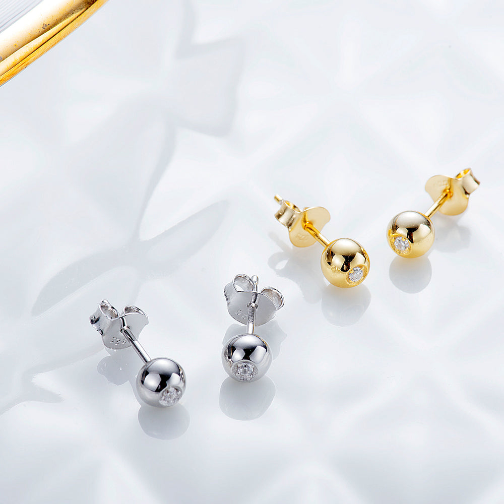 CZ Ball Stud Earrings basic studs