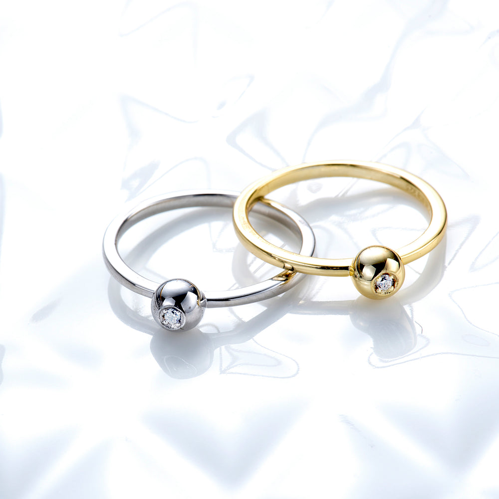 Tiny Ball Ring with CZ