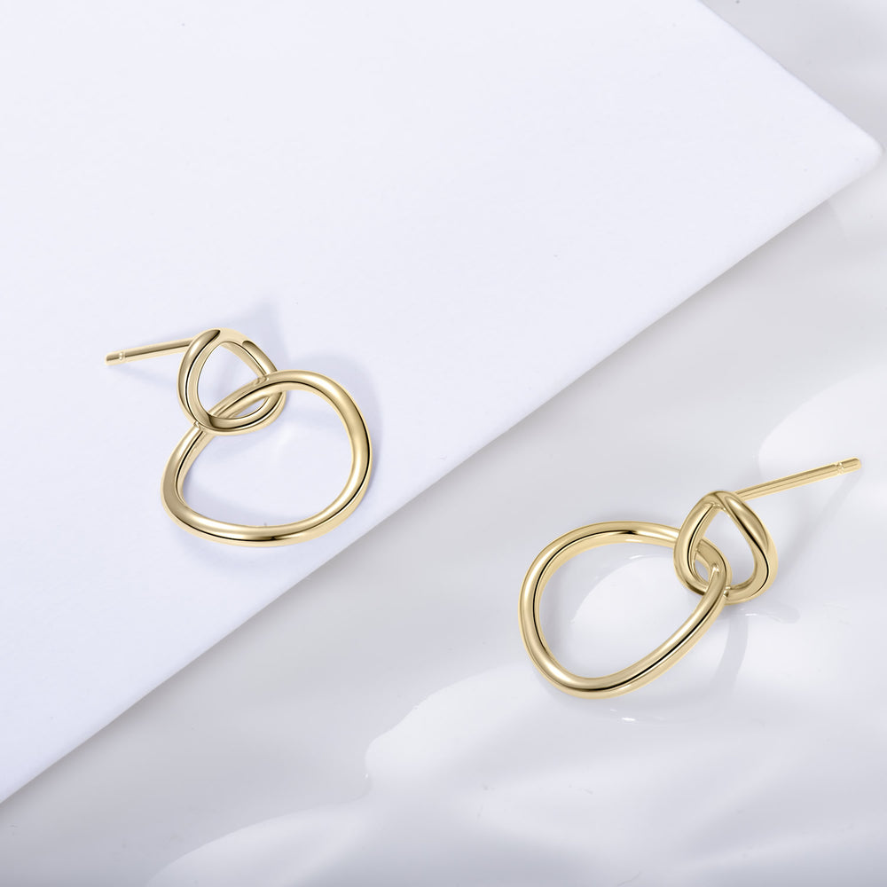 gold double circle earrings for women