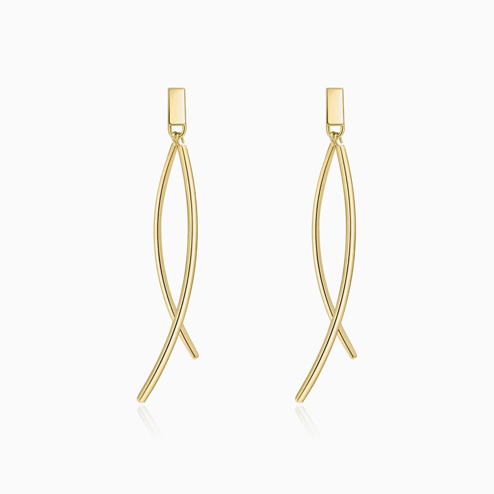 Minimalist Fishtail Dangle Earrings gold