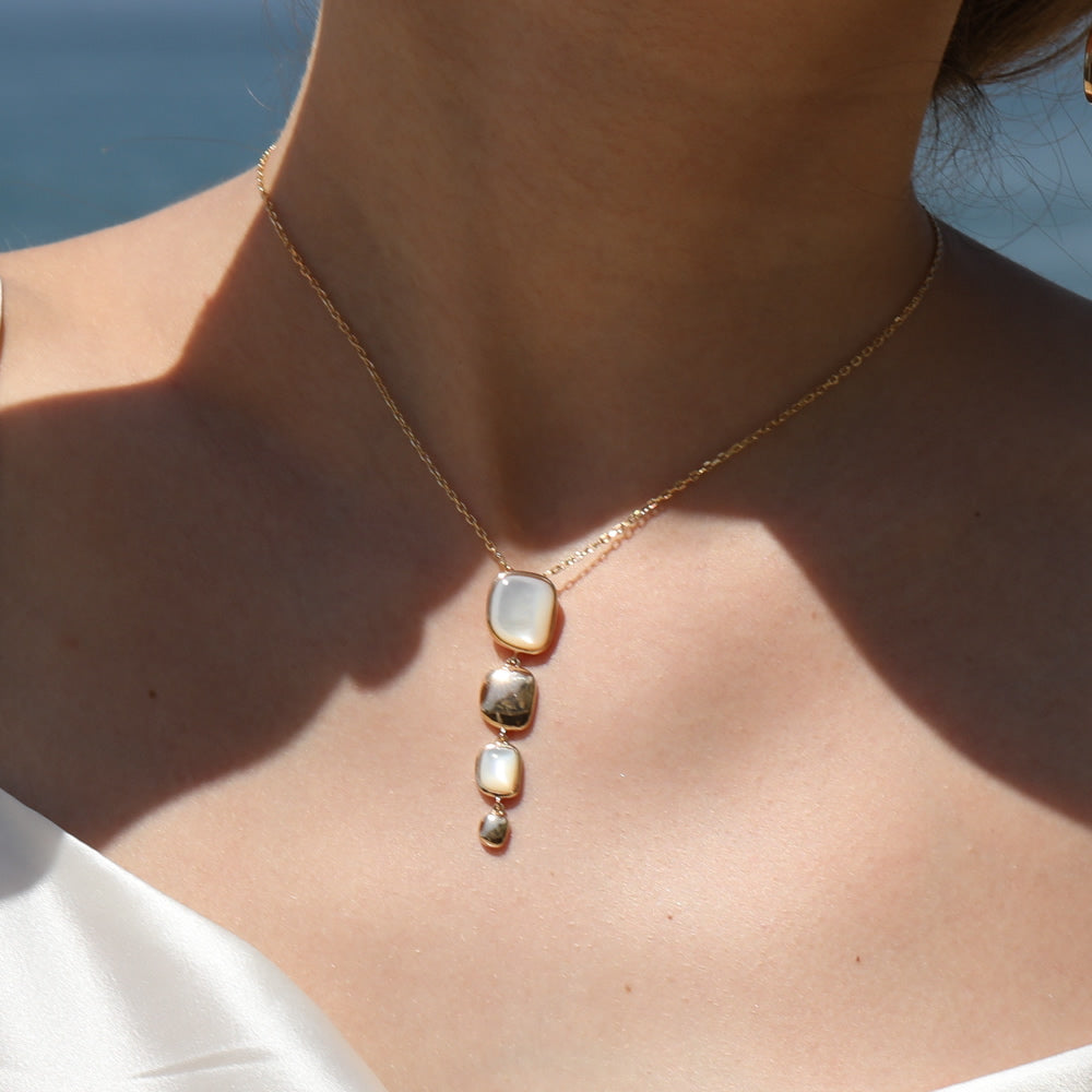 Handmade Vertical Mother Of Pearl statement Necklace