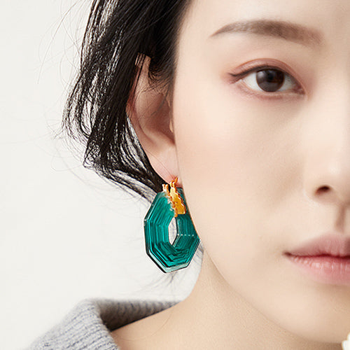 S.Leaf Acrylic Vintage Hoop Earrings