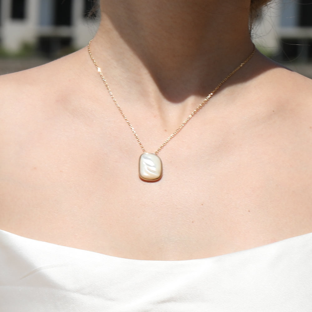 Irregular Mother Of Pearl Necklace sterling silver gold plated