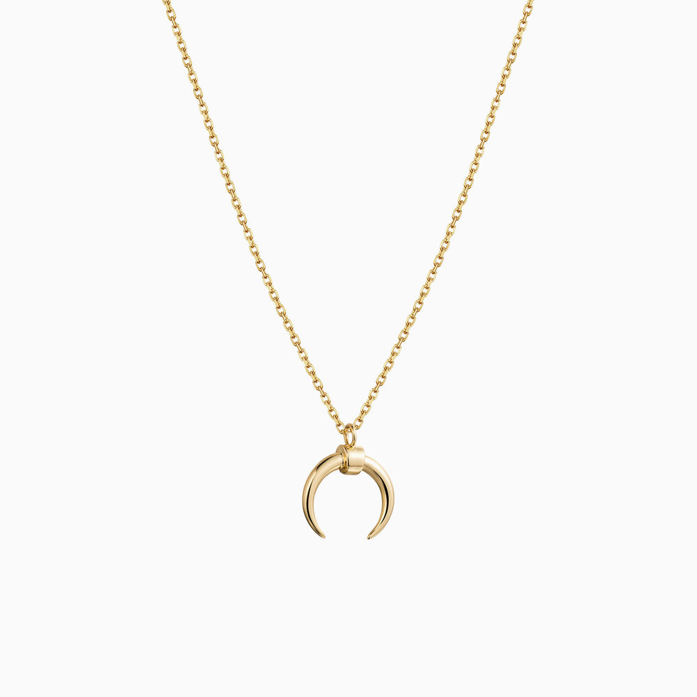 Gold horn pendant necklace for women