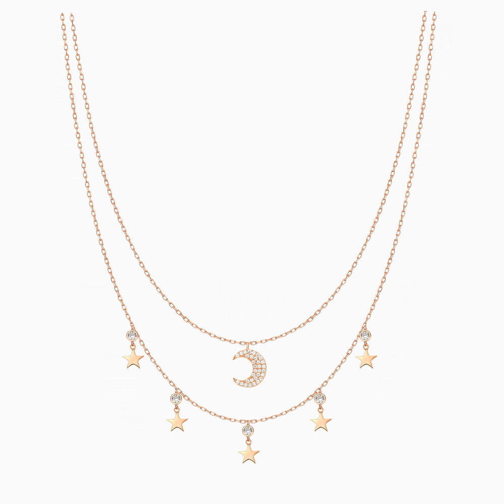 Moon Star Double Layered Necklace