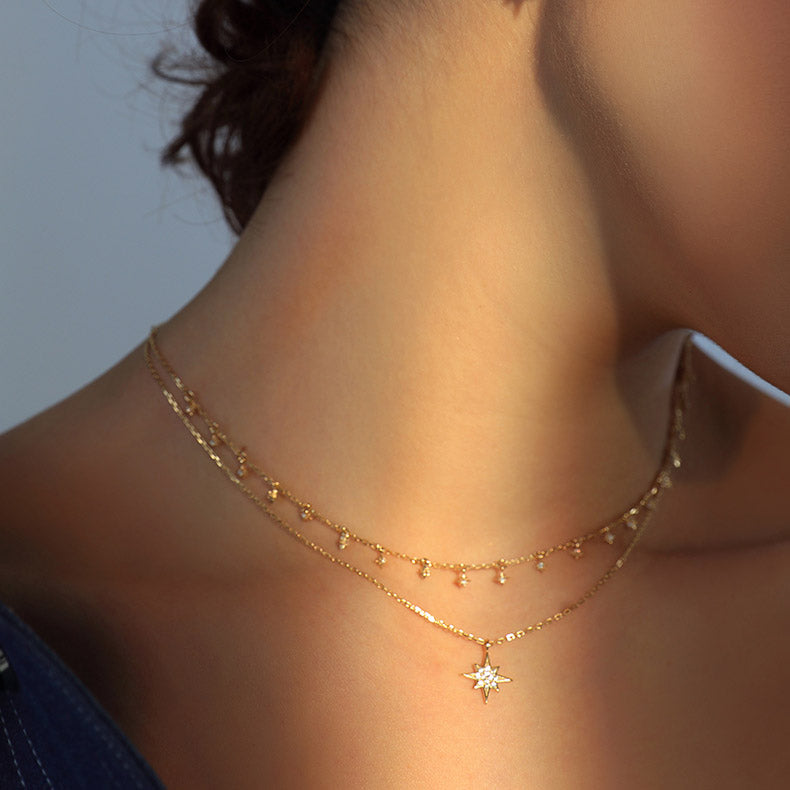 cubic zirconia stars layering necklace