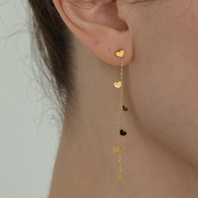 Gold Tiny Heart Dangle Earrings