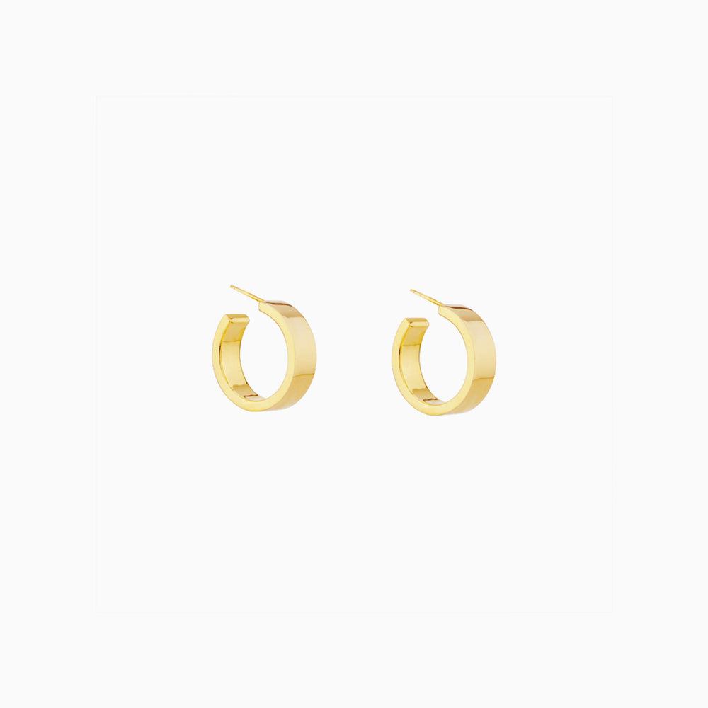 Minimalist Wide Hoop Earrings gold