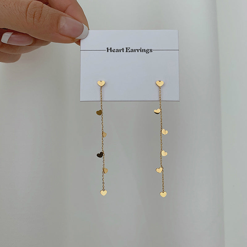 Cute Tiny Heart Dangle Earrings Women Girls Stud Earrings