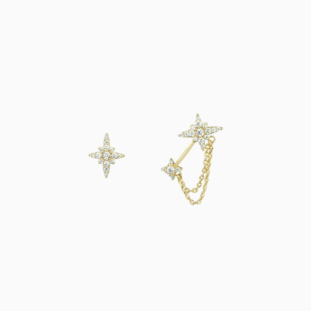 Cubic Zirconia Irregular Star Earrings