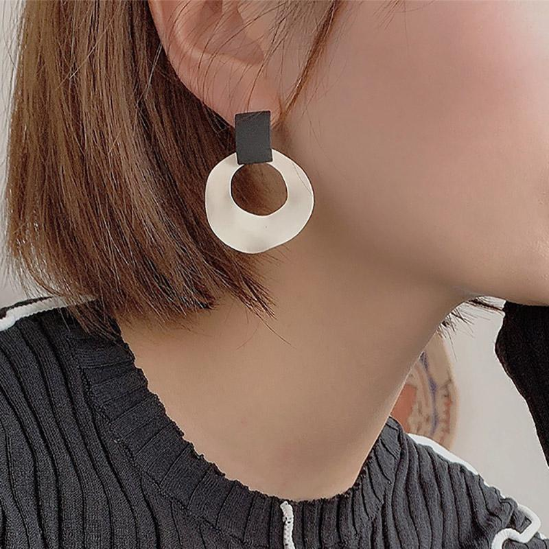 Black and White Irregular Circle Earrings drop earrings for women