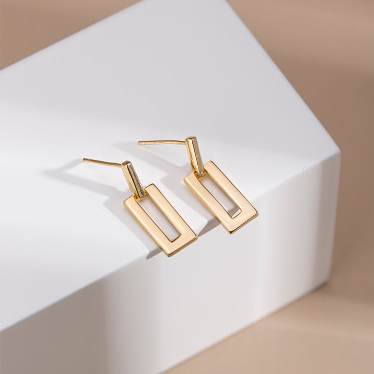 geometric square earrings everyday wear