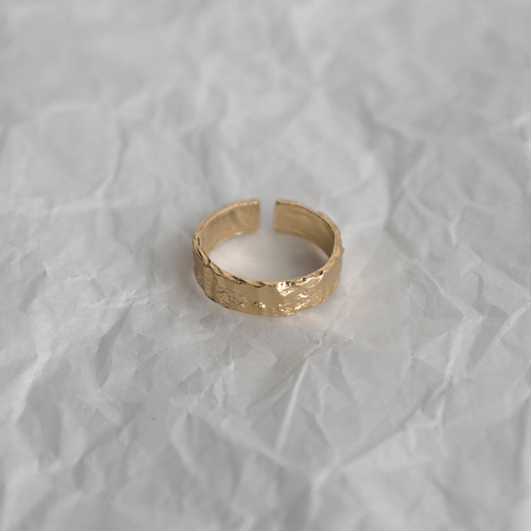 gold Tinfoil Texture Ring Adjustable dainty jewelry gift ideas