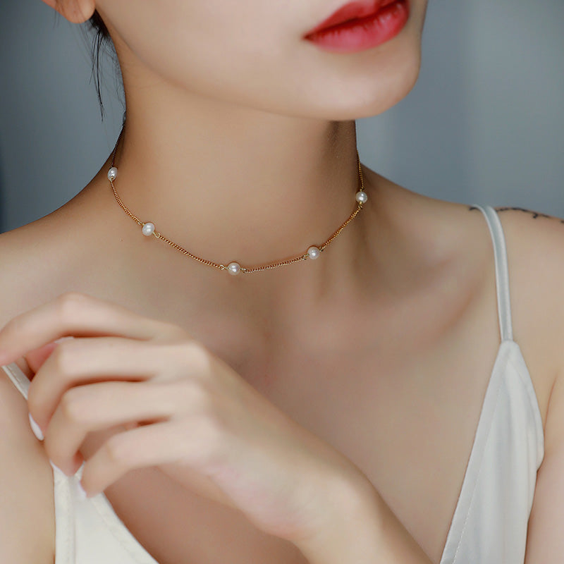 pearl choker for women gold plated