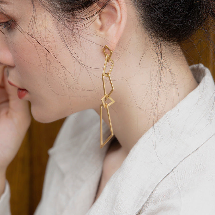 Geometric Long Dangle Earrings