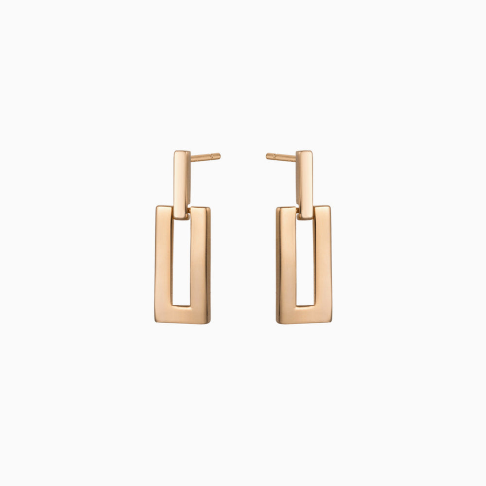 minimalist square earrings gold