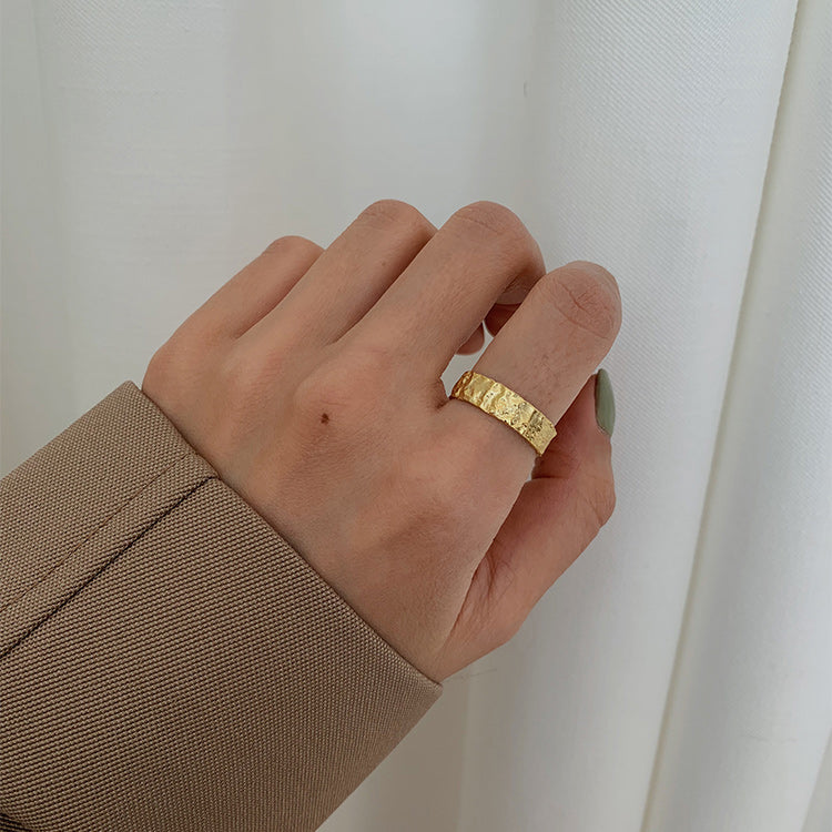 Gold palted sterling silver Tinfoil Texture Adjustable Ring
