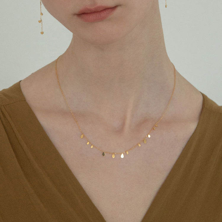 teardrop glitter Clavicle Chain Choker gold