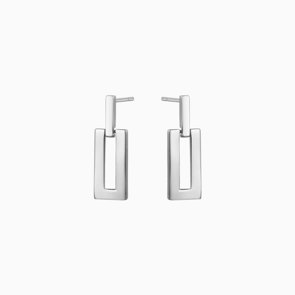 minimalist square earrings sterling silver