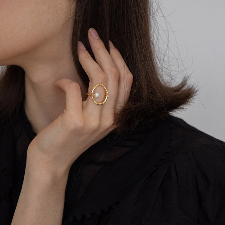 Vintage Irregular Circle Pearl statement Ring gift ideas