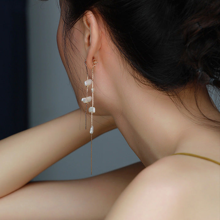 Baroque pearl earrings tassel ear jacket for women