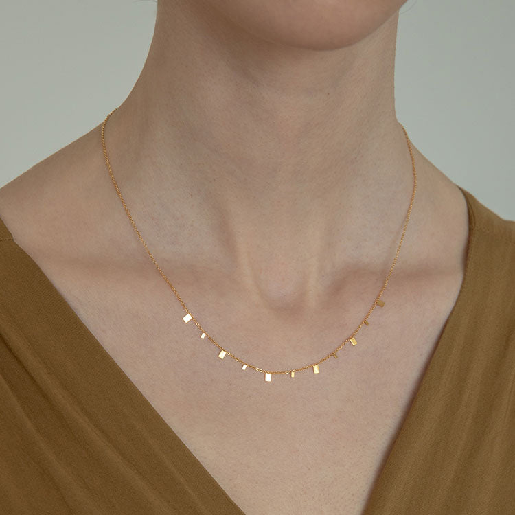 square glitter Clavicle Chain Choker gold
