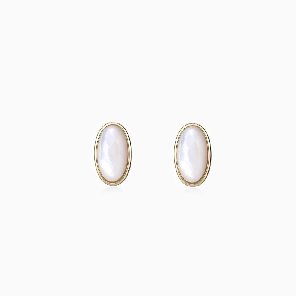 Mother of Pearl Oval Stud Earrings gold