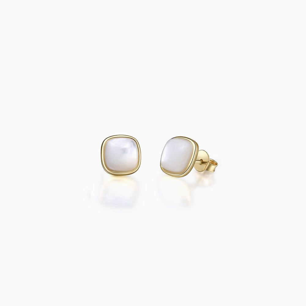 Convex Shape Mother Of Pearl Stud Earrings