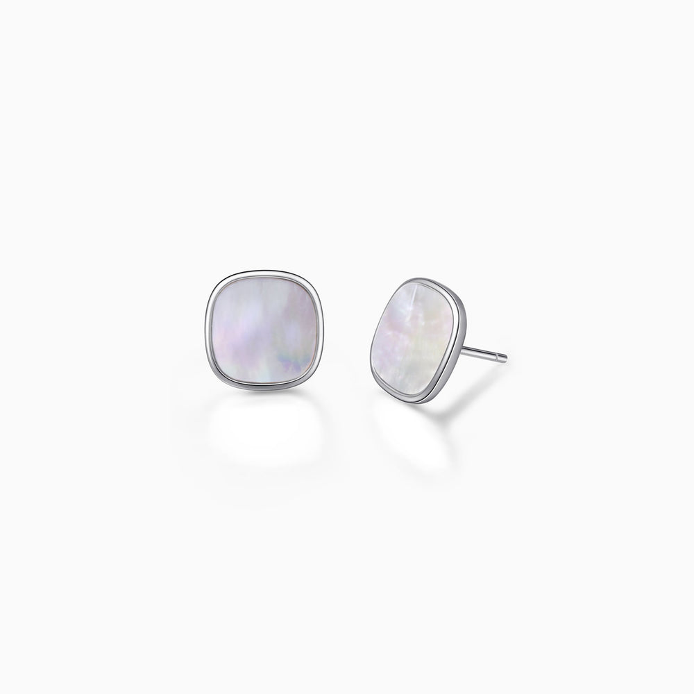 Mother of Pearl Round Square Stud Earrings