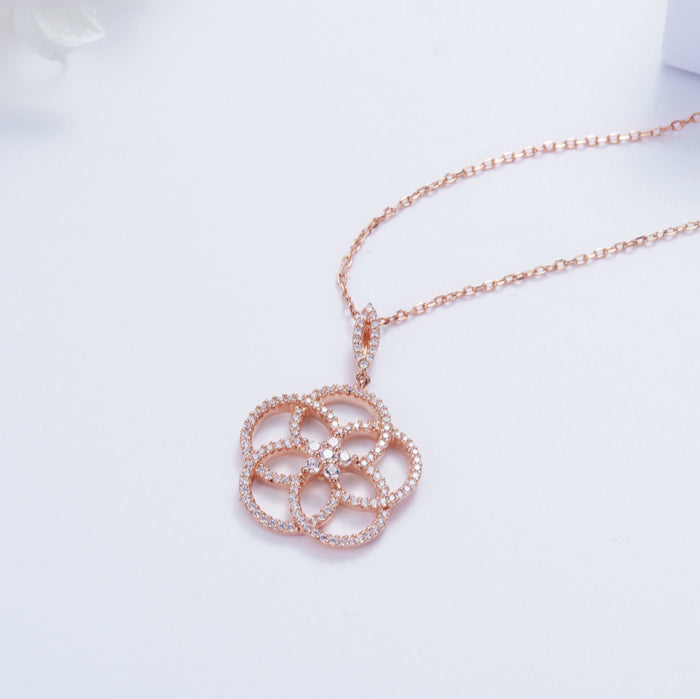 cubic zirconia camellia statement necklace gift ideas