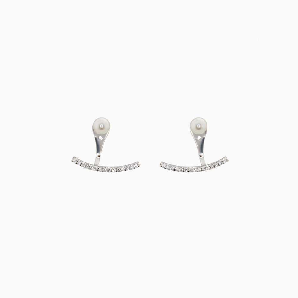 Pearl Smile Ear Jacket Earrings