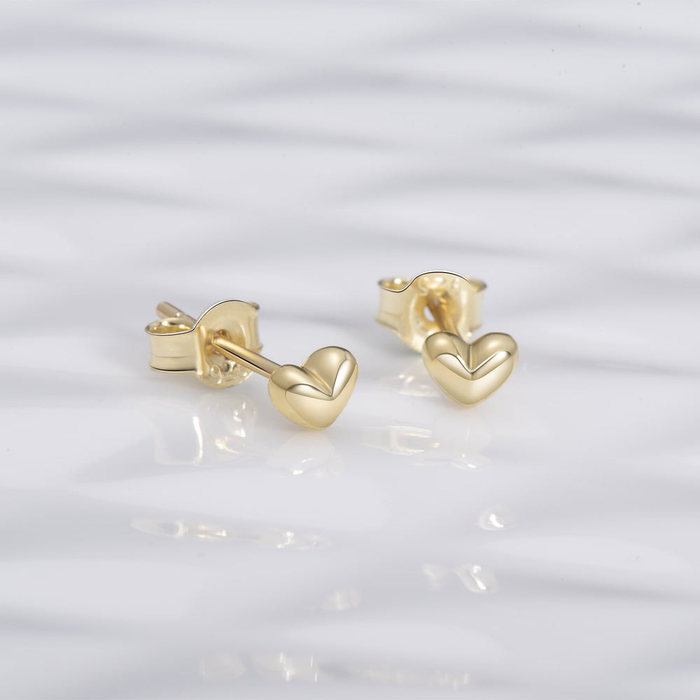 sterling silver gold 3D Heart Stud Earrings for women