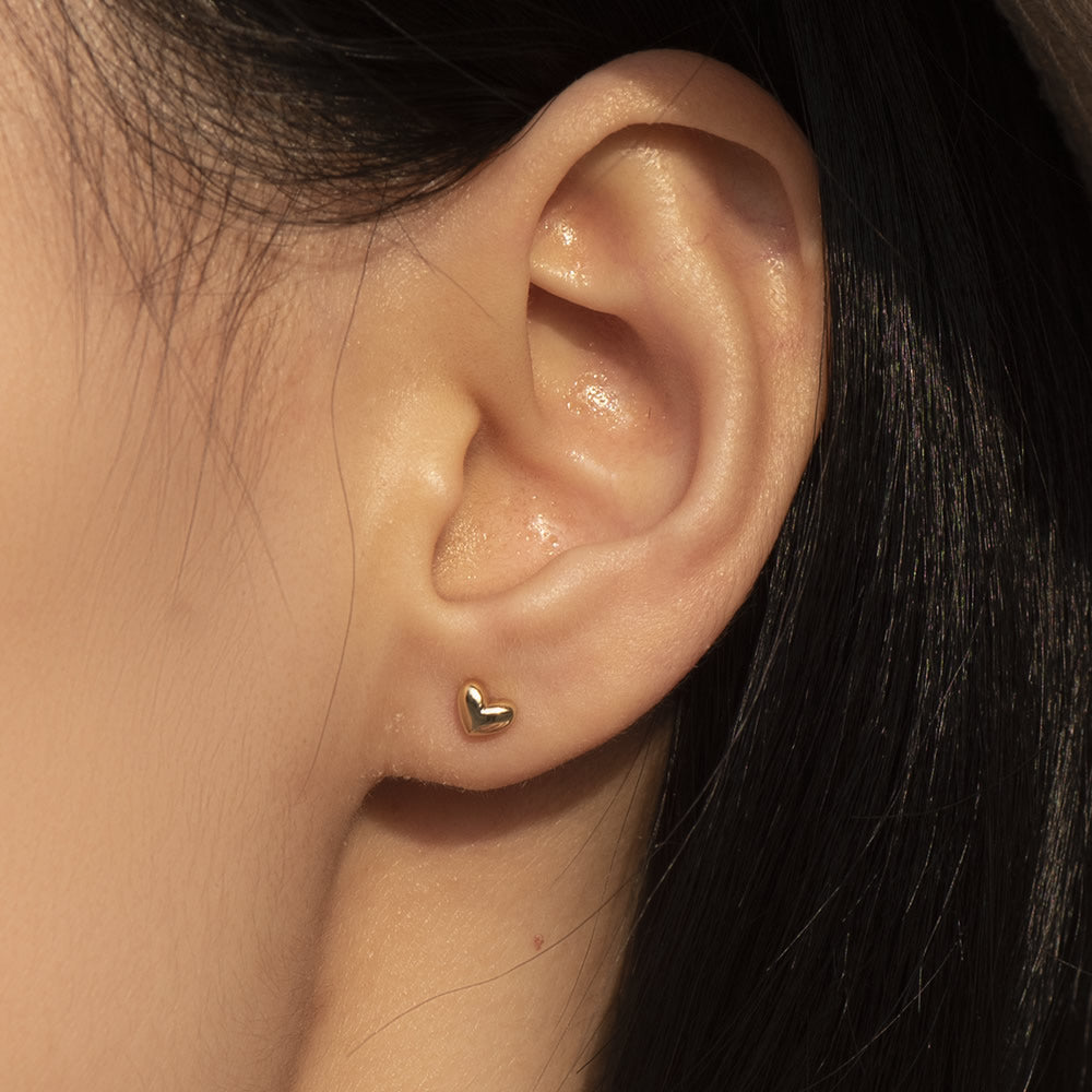 3D tiny heart studs ear posts