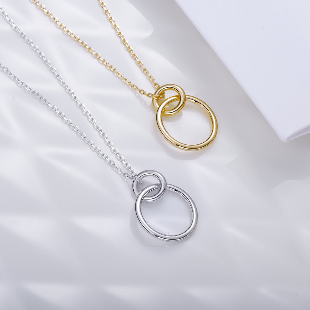 dainty simple Interlocking Circle Necklace gift ideas