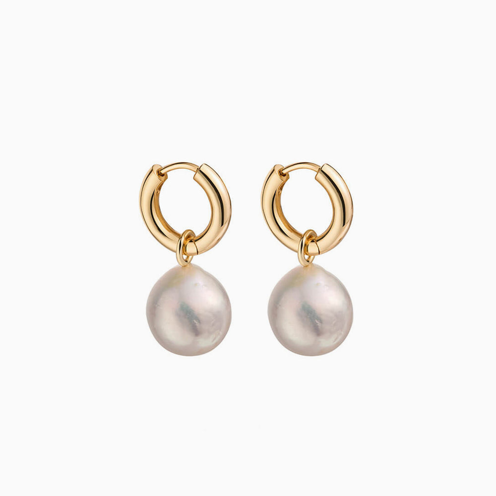 Round Baroque pearl Hoop Earrings for women