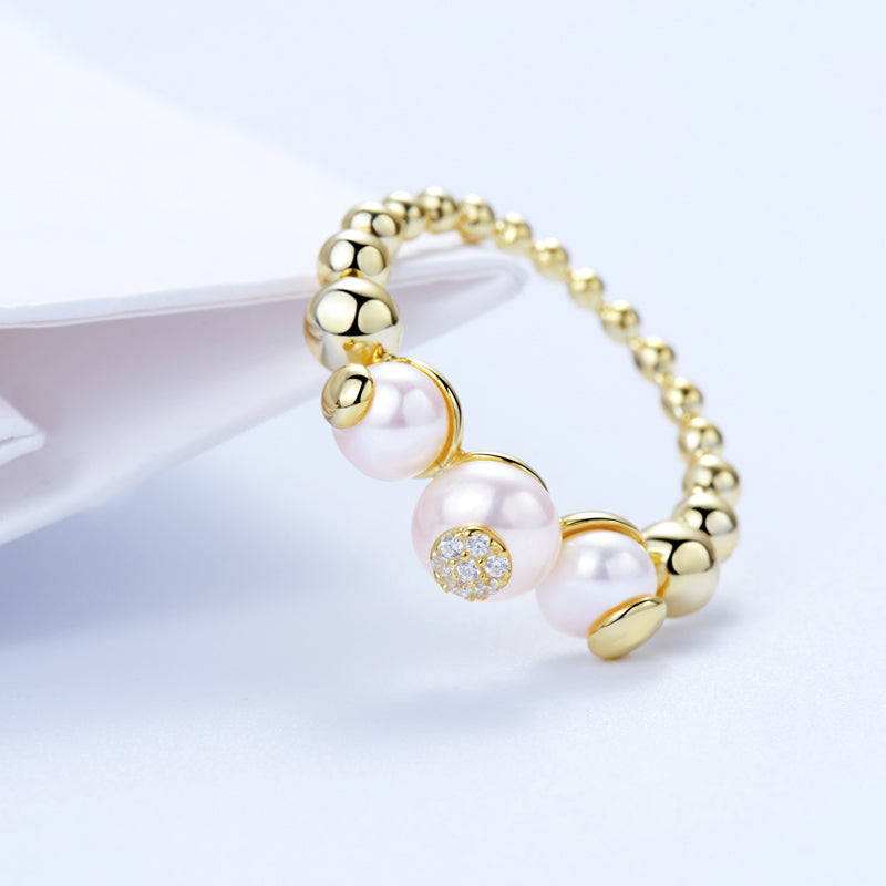 Pearl ring Bubble Ball cocktail Ring sterling silver gold plated