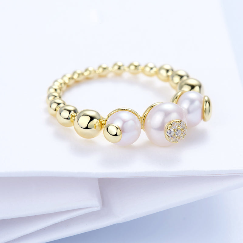dainty Bubble Ball pearl Ring sterling silver