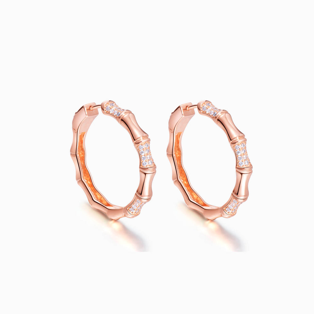 rose gold Bamboo Hoop Earrings